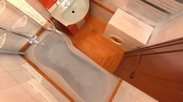 ванная ассиметричные с прямоугольным акцентом