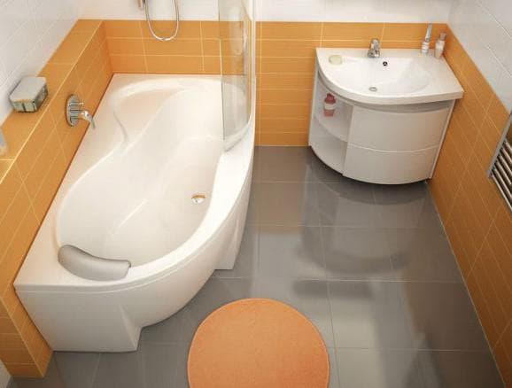 угловая ванная сложной формы