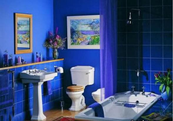 ванная комната в синей гамме